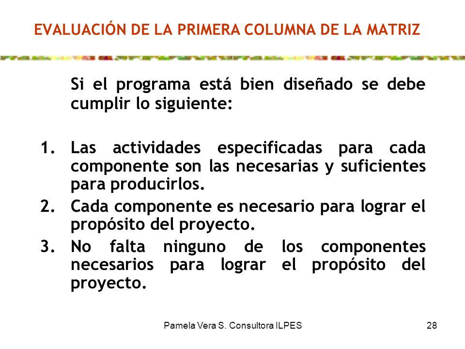 Pamela Vera S. Consultora ILPES28 EVALUACIÓN DE LA PRIMERA COLUMNA DE LA MATRIZ Si el programa está bien diseñado se debe cumplir lo siguiente: 1.Las