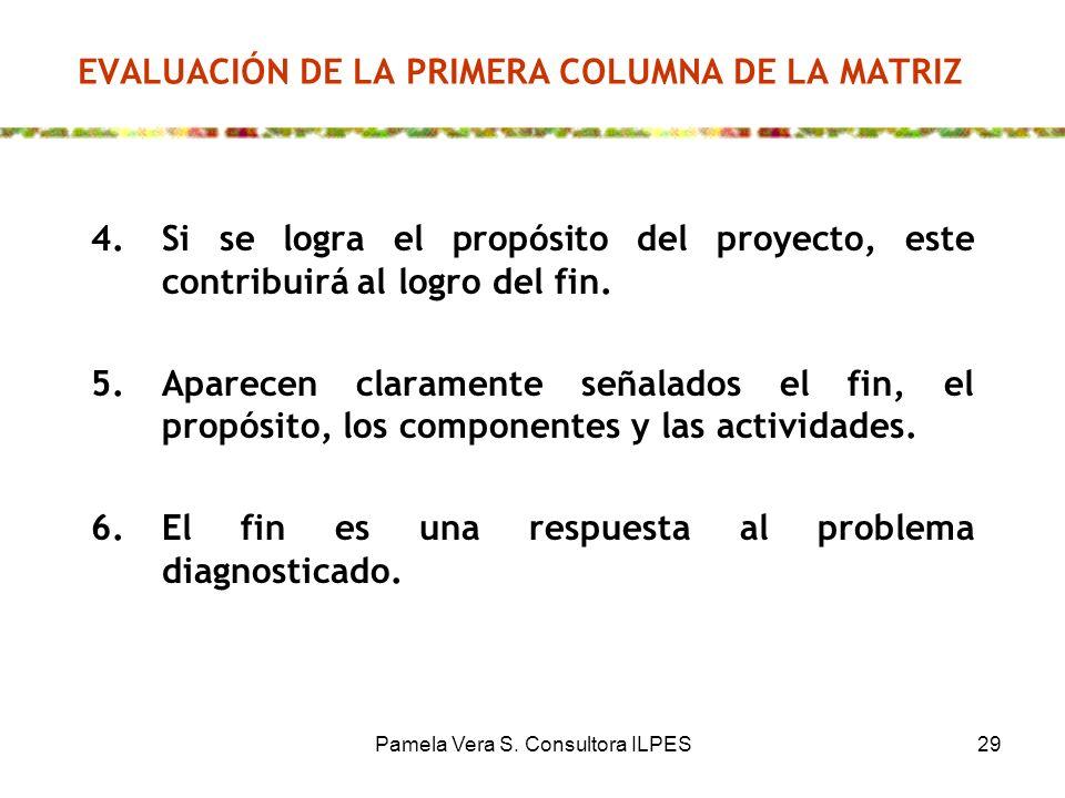 Pamela Vera S. Consultora ILPES29 EVALUACIÓN DE LA PRIMERA COLUMNA DE LA MATRIZ 4.Si se logra el propósito del proyecto, este contribuirá al logro del