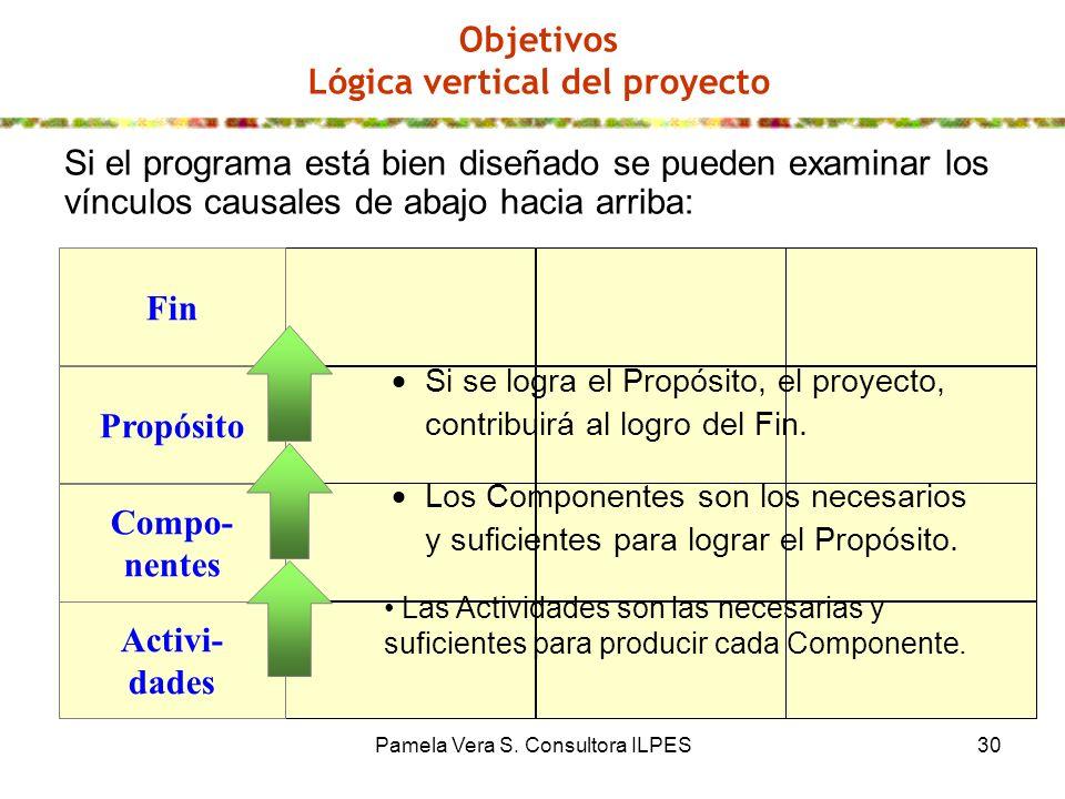 Pamela Vera S. Consultora ILPES30 Objetivos Lógica vertical del proyecto Si el programa está bien diseñado se pueden examinar los vínculos causales de