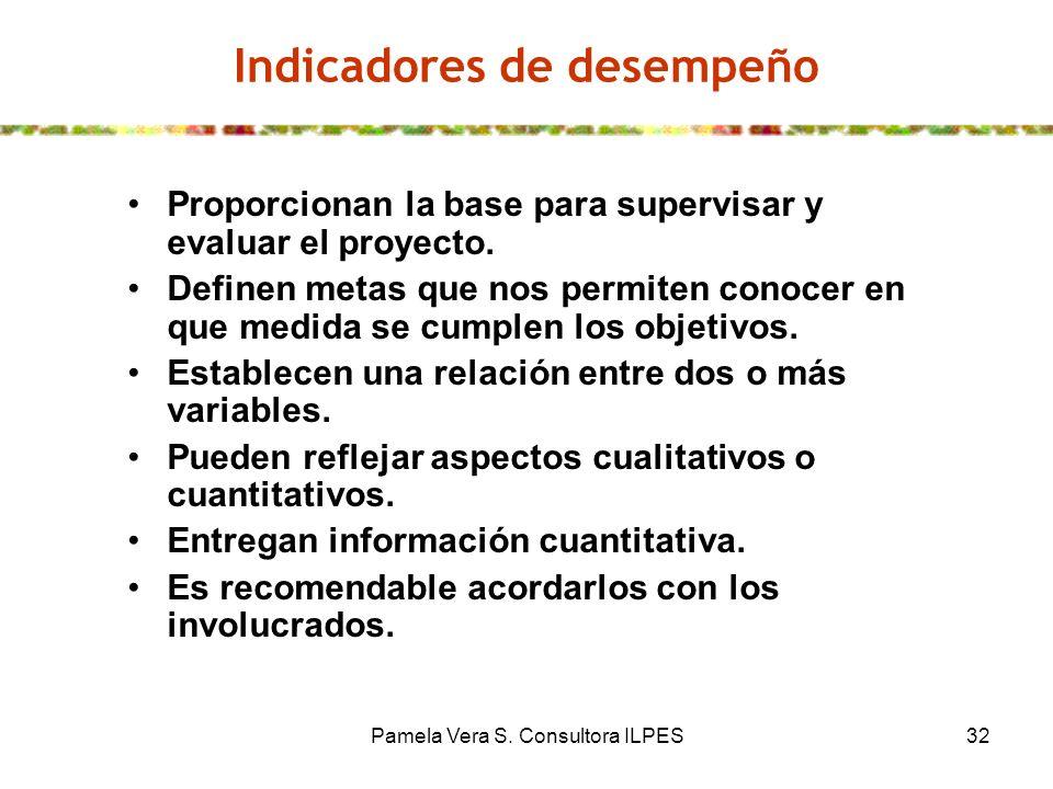 Pamela Vera S. Consultora ILPES32 Indicadores de desempeño Proporcionan la base para supervisar y evaluar el proyecto. Definen metas que nos permiten