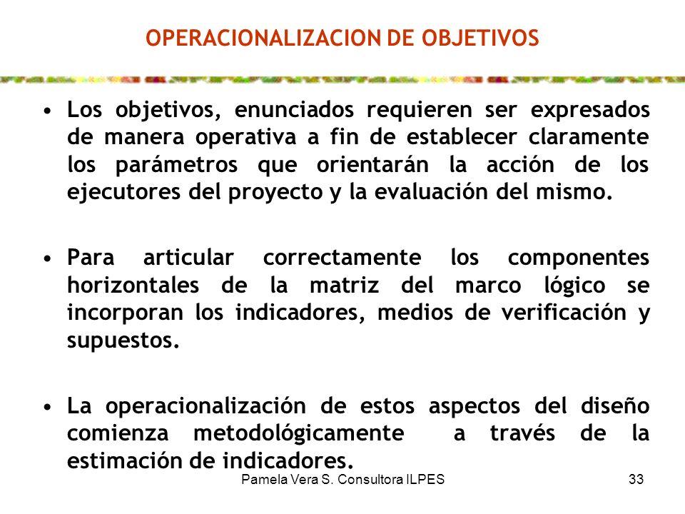 Pamela Vera S. Consultora ILPES33 OPERACIONALIZACION DE OBJETIVOS Los objetivos, enunciados requieren ser expresados de manera operativa a fin de esta