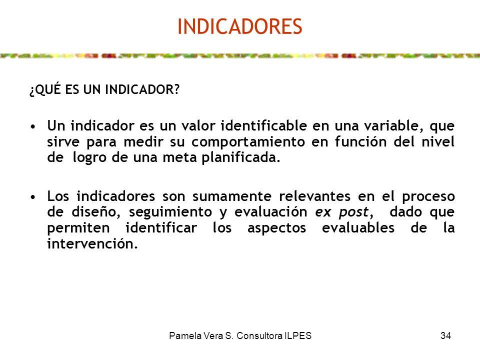 Pamela Vera S. Consultora ILPES34 INDICADORES ¿QUÉ ES UN INDICADOR? Un indicador es un valor identificable en una variable, que sirve para medir su co