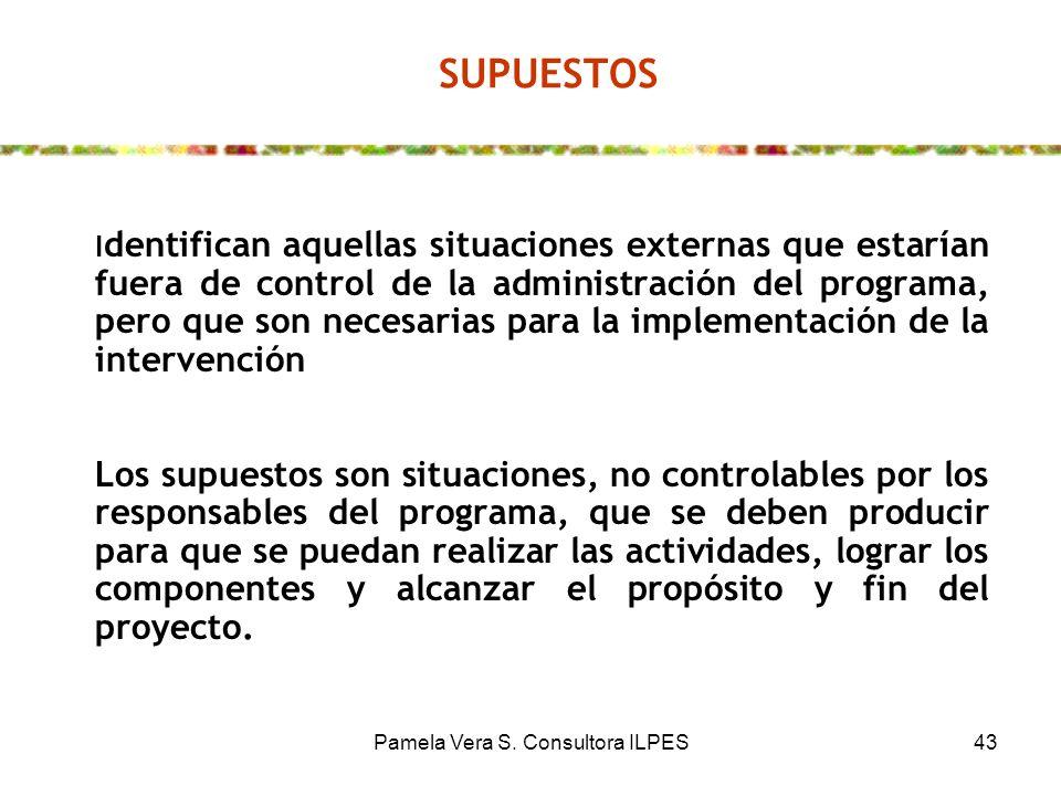 Pamela Vera S. Consultora ILPES43 SUPUESTOS I dentifican aquellas situaciones externas que estarían fuera de control de la administración del programa