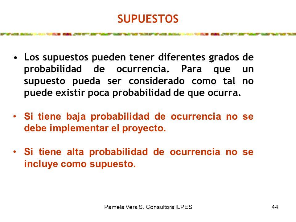 Pamela Vera S. Consultora ILPES44 SUPUESTOS Los supuestos pueden tener diferentes grados de probabilidad de ocurrencia. Para que un supuesto pueda ser