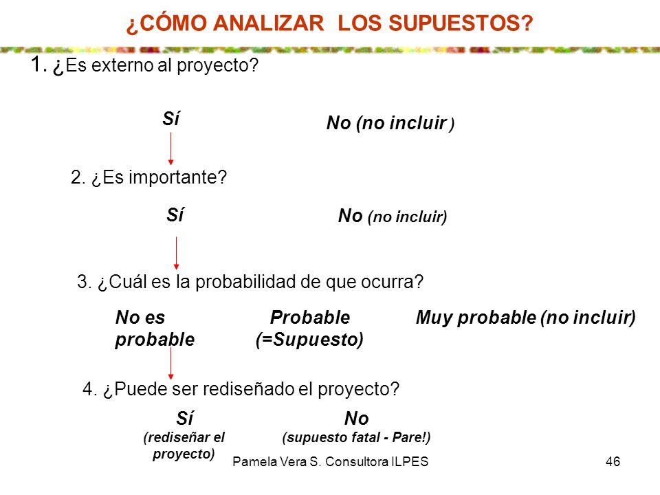 Pamela Vera S. Consultora ILPES46 3. ¿Cuál es la probabilidad de que ocurra? No es probable Probable (=Supuesto) Muy probable (no incluir) 4. ¿Puede s
