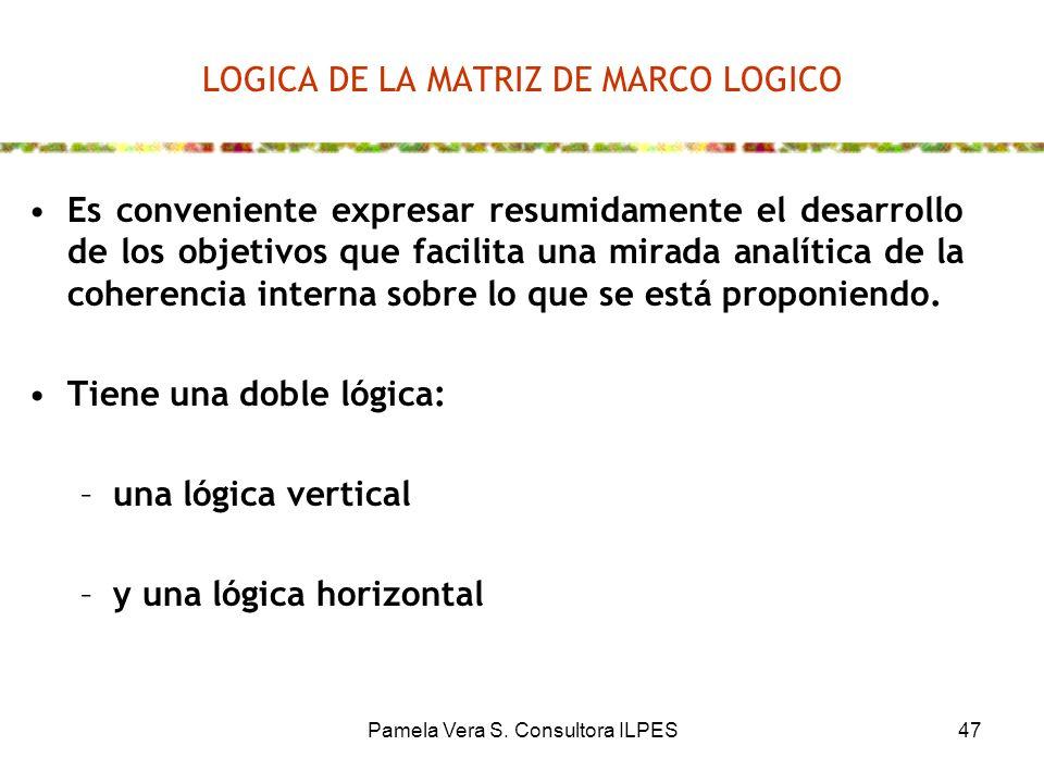 Pamela Vera S. Consultora ILPES47 LOGICA DE LA MATRIZ DE MARCO LOGICO Es conveniente expresar resumidamente el desarrollo de los objetivos que facilit