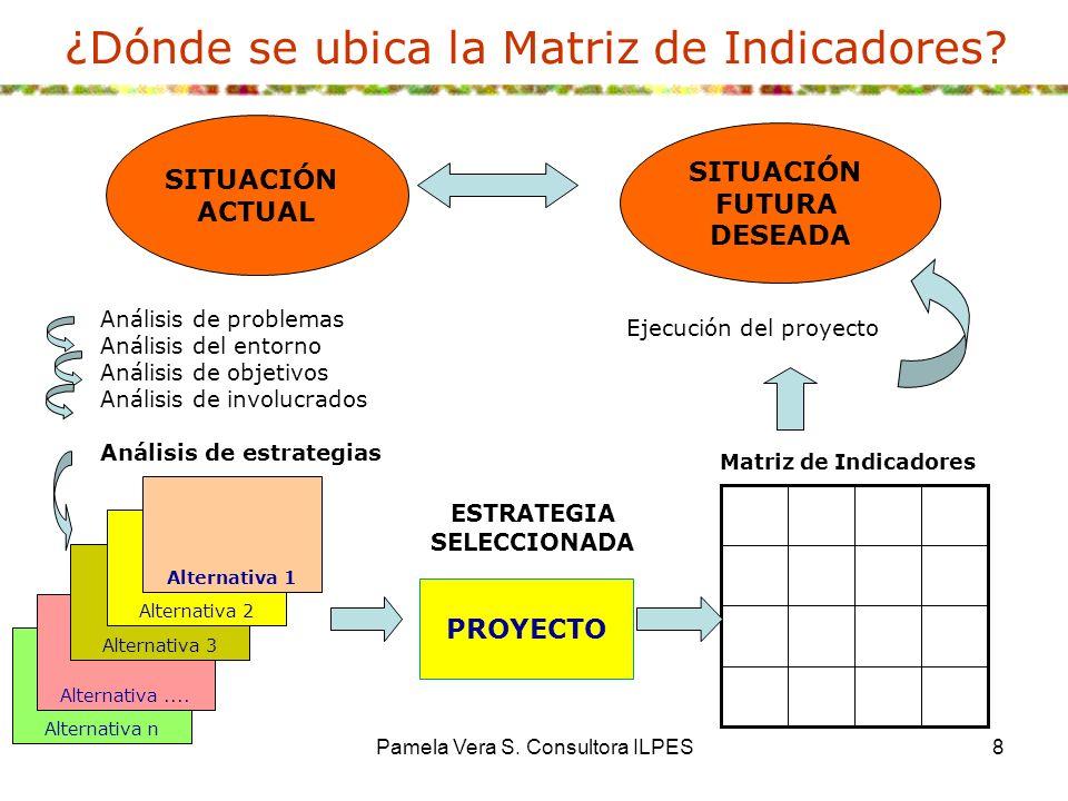 Pamela Vera S. Consultora ILPES8 ¿Dónde se ubica la Matriz de Indicadores? Matriz de Indicadores SITUACIÓN ACTUAL SITUACIÓN FUTURA DESEADA PROYECTO Al