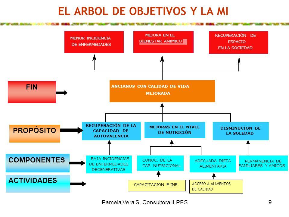 Pamela Vera S. Consultora ILPES9 EL ARBOL DE OBJETIVOS Y LA MI FIN PROPÓSITO COMPONENTESACTIVIDADES