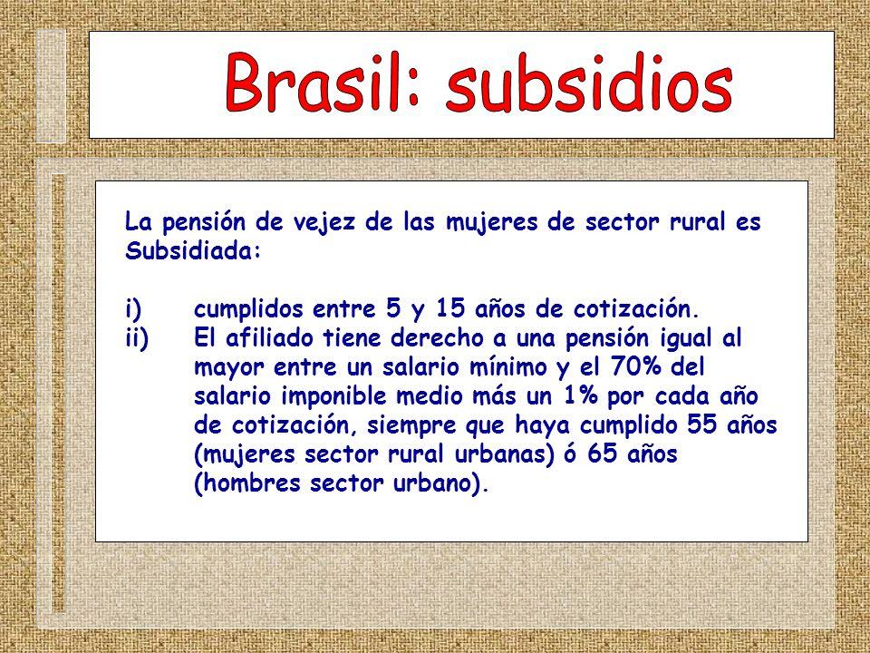 La pensión de vejez de las mujeres de sector rural es Subsidiada: i) cumplidos entre 5 y 15 años de cotización. ii) El afiliado tiene derecho a una pe
