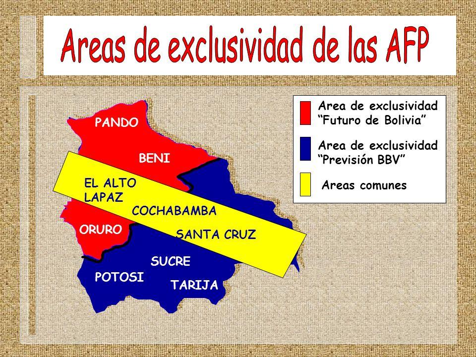 Area de exclusividad Futuro de Bolivia Area de exclusividad Previsión BBV Areas comunes PANDO BENI ORURO POTOSI TARIJA SUCRE EL ALTO LAPAZ COCHABAMBA