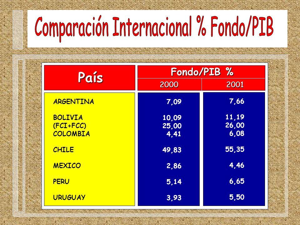 País ARGENTINA BOLIVIA (FCI+FCC) COLOMBIA CHILE MEXICO PERU URUGUAY Fondo/PIB % 2000 2001 7,09 10,09 25,00 4,41 49,83 2,86 5,14 3,93 7,66 11,19 26,00