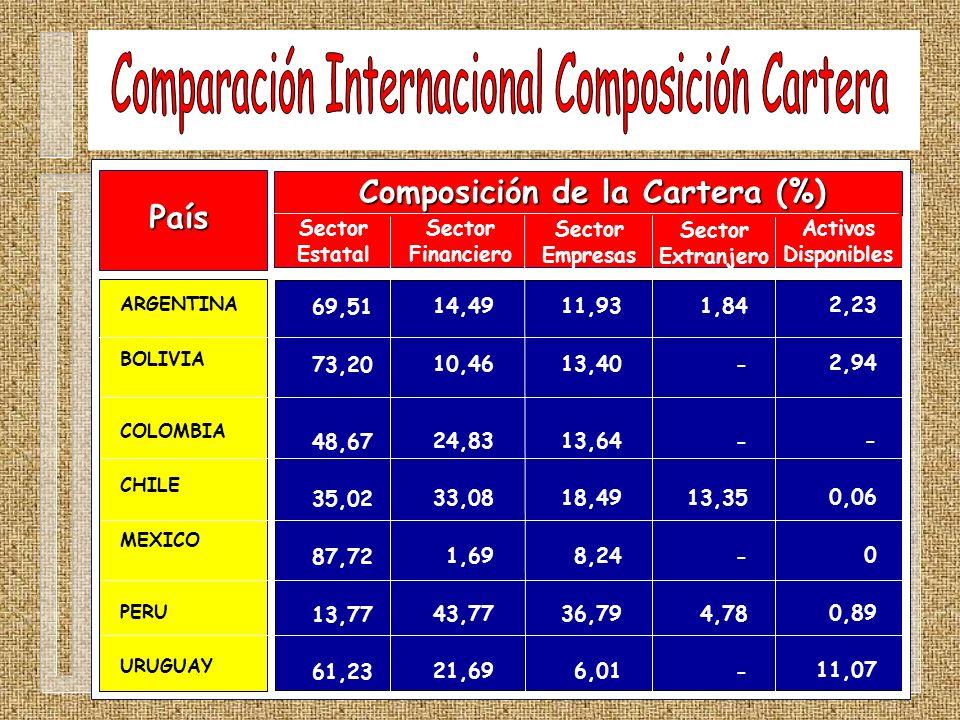 País ARGENTINA BOLIVIA COLOMBIA CHILE MEXICO PERU URUGUAY Composición de la Cartera (%) Sector Estatal 69,51 73,20 48,67 35,02 87,72 13,77 61,23 Secto