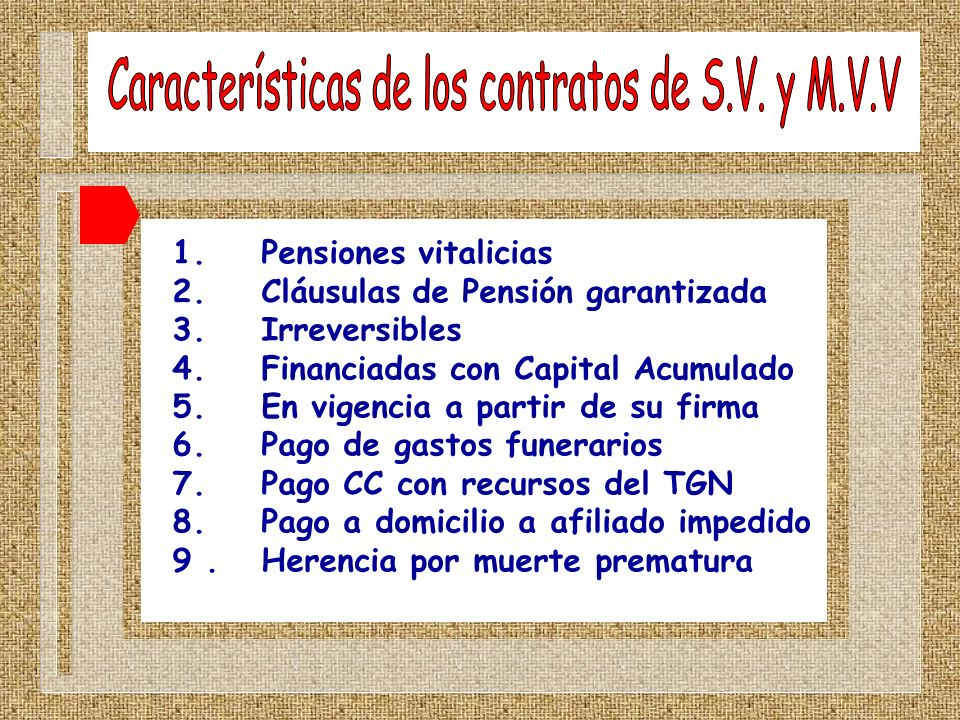 1. Pensiones vitalicias 2. Cláusulas de Pensión garantizada 3. Irreversibles 4. Financiadas con Capital Acumulado 5. En vigencia a partir de su firma