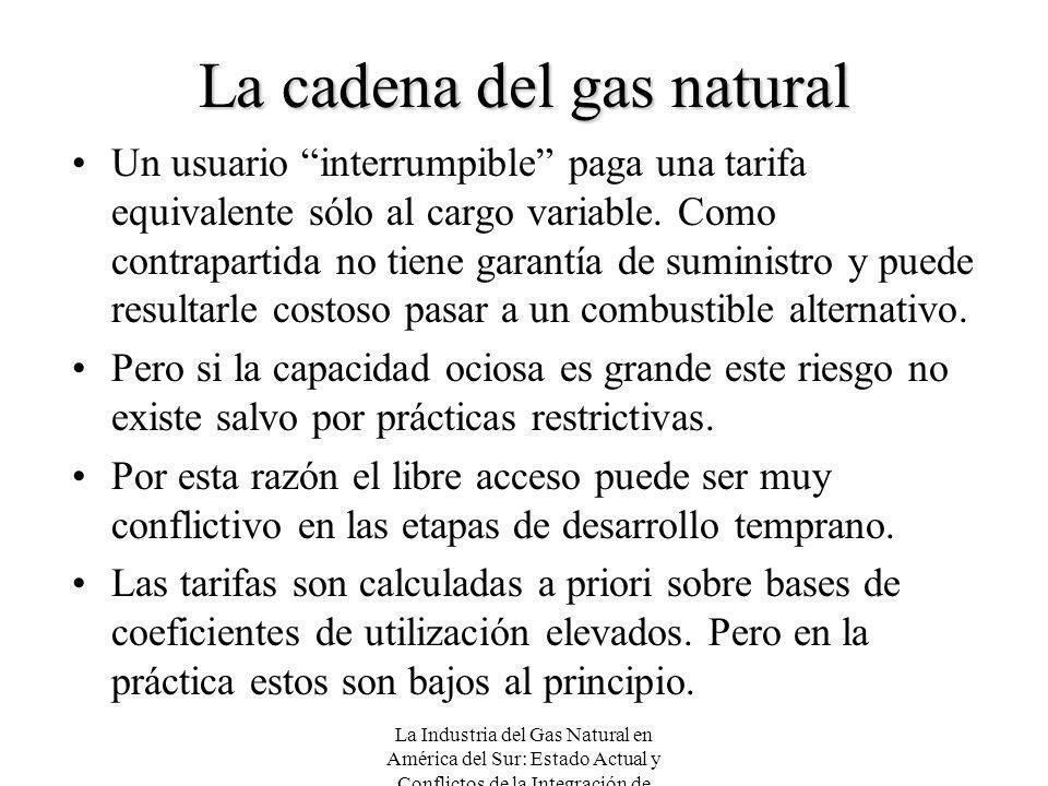 La Industria del Gas Natural en América del Sur: Estado Actual y Conflictos de la Integración de Mercados La cadena del gas natural Un usuario interru