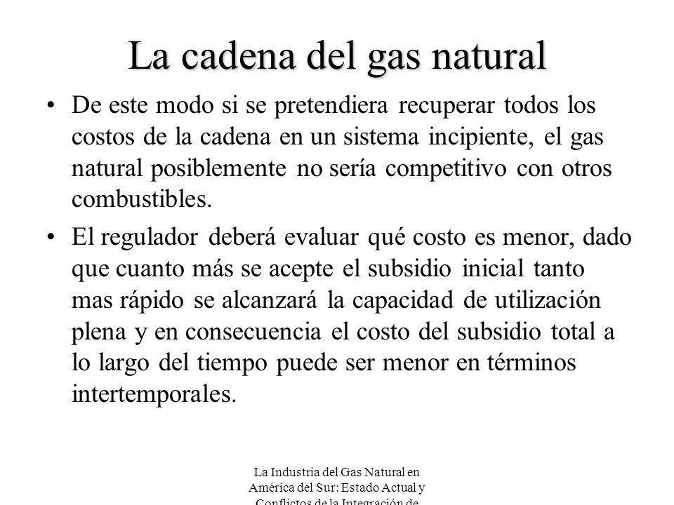 La Industria del Gas Natural en América del Sur: Estado Actual y Conflictos de la Integración de Mercados La cadena del gas natural De este modo si se