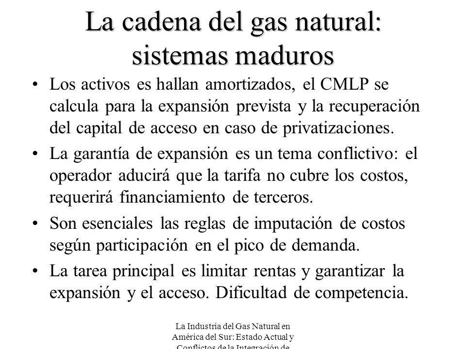 La Industria del Gas Natural en América del Sur: Estado Actual y Conflictos de la Integración de Mercados La cadena del gas natural: sistemas maduros