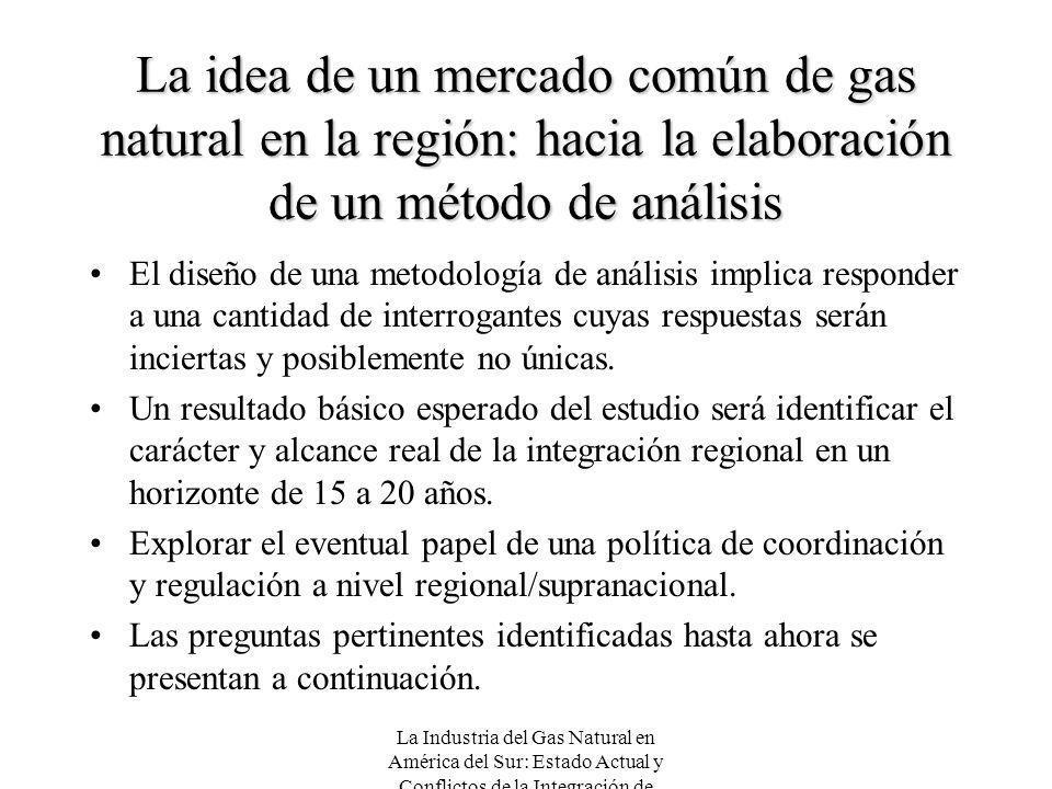 La Industria del Gas Natural en América del Sur: Estado Actual y Conflictos de la Integración de Mercados La idea de un mercado común de gas natural e
