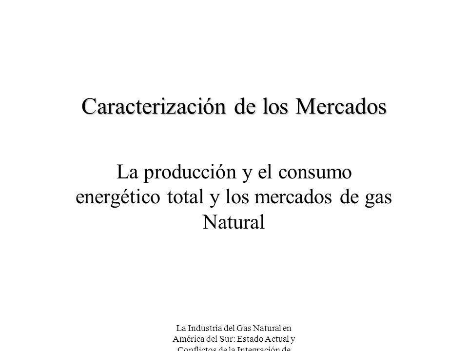 La Industria del Gas Natural en América del Sur: Estado Actual y Conflictos de la Integración de Mercados Caracterización de los Mercados La producció
