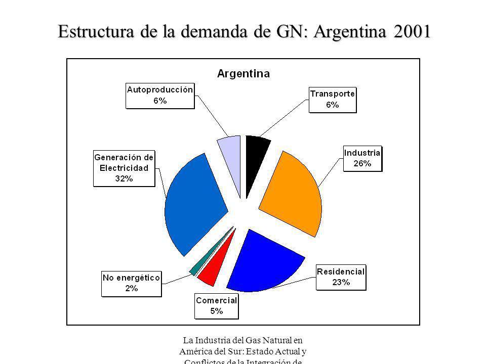 La Industria del Gas Natural en América del Sur: Estado Actual y Conflictos de la Integración de Mercados Estructura de la demanda de GN: Argentina 20