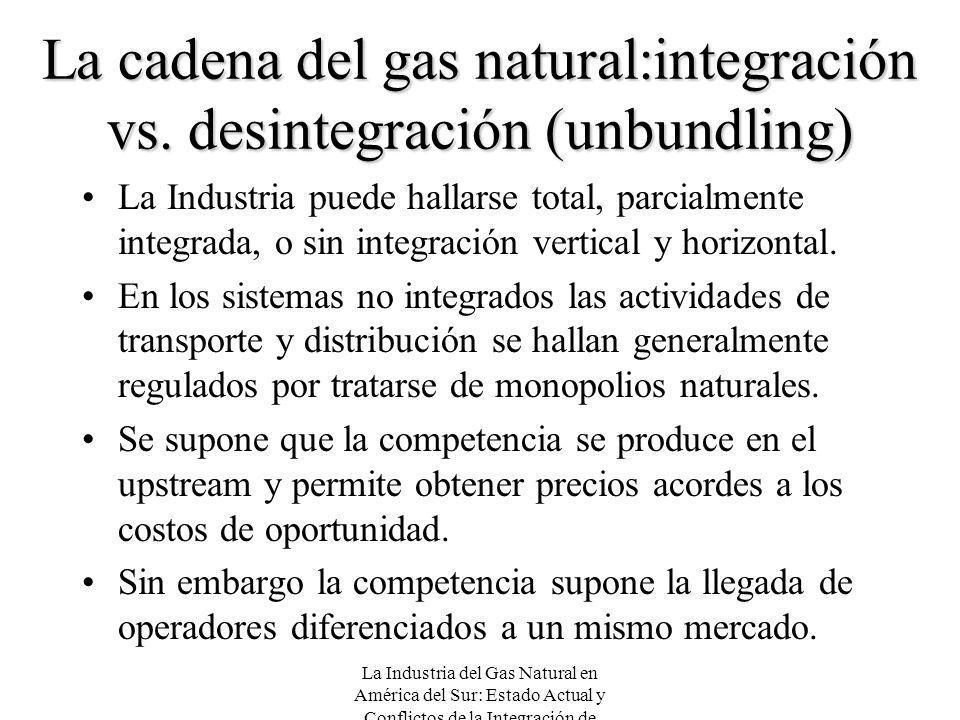 La Industria del Gas Natural en América del Sur: Estado Actual y Conflictos de la Integración de Mercados La cadena del gas natural:integración vs. de