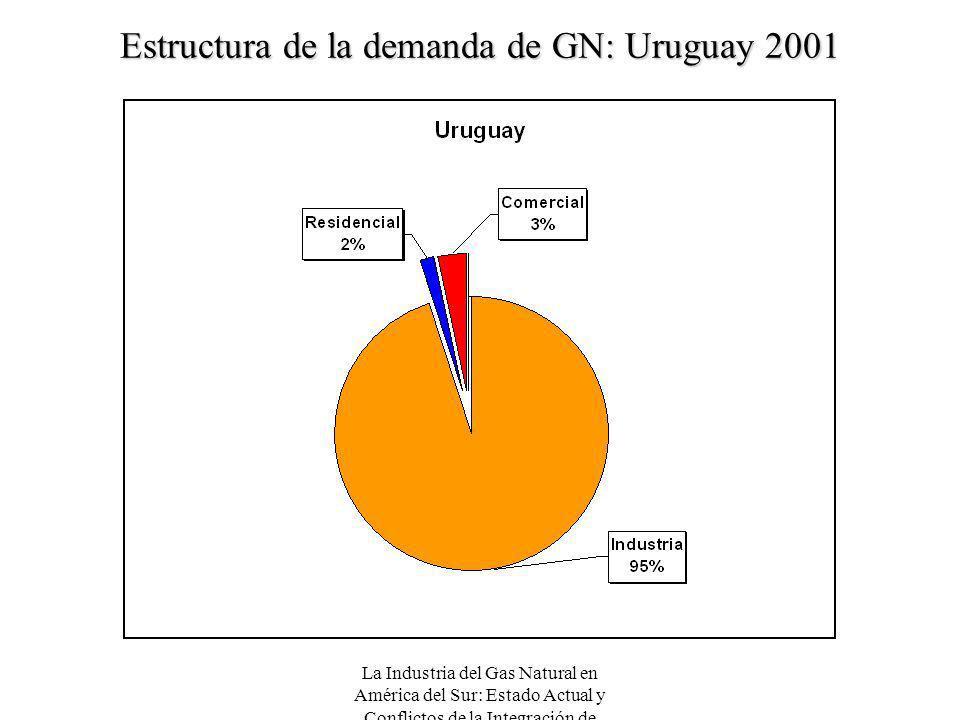 La Industria del Gas Natural en América del Sur: Estado Actual y Conflictos de la Integración de Mercados Estructura de la demanda de GN: Uruguay 2001