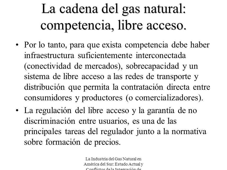 La Industria del Gas Natural en América del Sur: Estado Actual y Conflictos de la Integración de Mercados La cadena del gas natural: competencia, libr