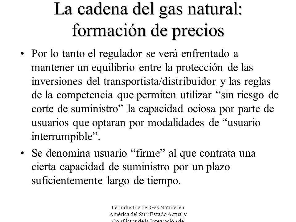 La Industria del Gas Natural en América del Sur: Estado Actual y Conflictos de la Integración de Mercados La cadena del gas natural: formación de prec