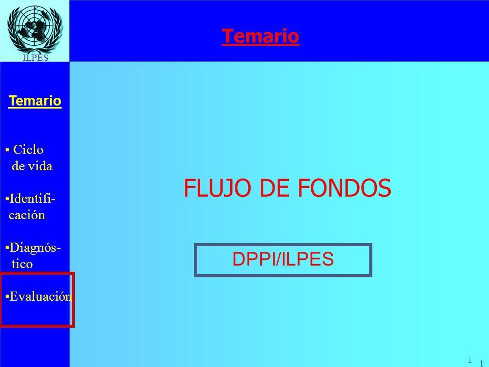 Ciclo de vida Identifi- cación Diagnós- tico Evaluación Temario 1 ILPES 1 FLUJO DE FONDOS DPPI/ILPES