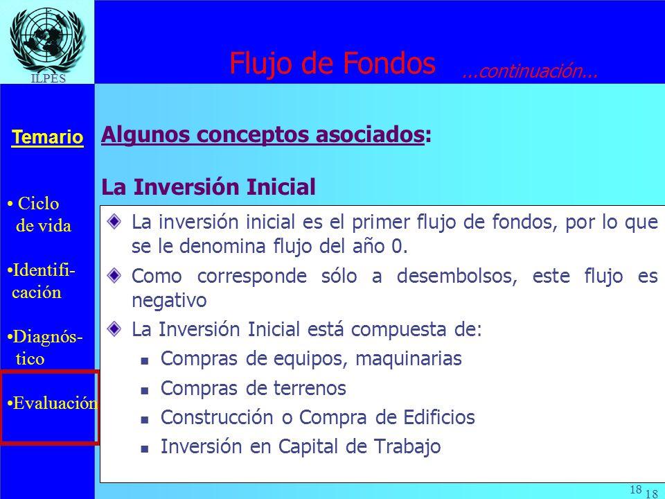 Ciclo de vida Identifi- cación Diagnós- tico Evaluación Temario 18 ILPES La Inversión Inicial La inversión inicial es el primer flujo de fondos, por l