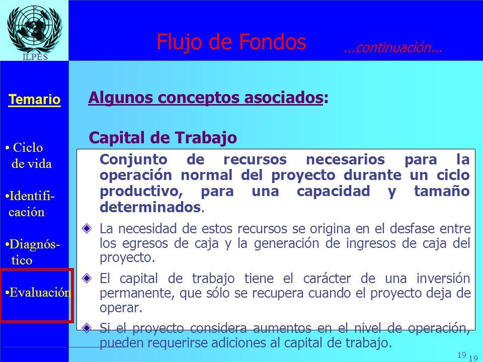 Ciclo de vida Identifi- cación Diagnós- tico Evaluación Temario 19 ILPES Capital de Trabajo Conjunto de recursos necesarios para la operación normal d