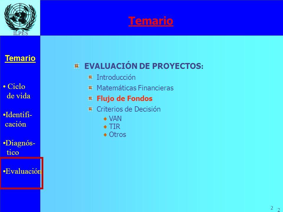 Ciclo de vida Identifi- cación Diagnós- tico Evaluación Temario 2 ILPES 2 EVALUACIÓN DE PROYECTOS : Introducción Matemáticas Financieras Flujo de Fond