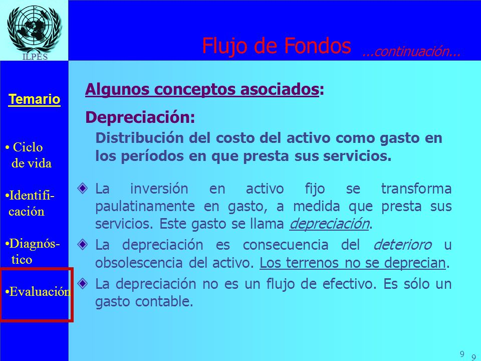 Ciclo de vida Identifi- cación Diagnós- tico Evaluación Temario 9 ILPES 9 Depreciación: Distribución del costo del activo como gasto en los períodos e