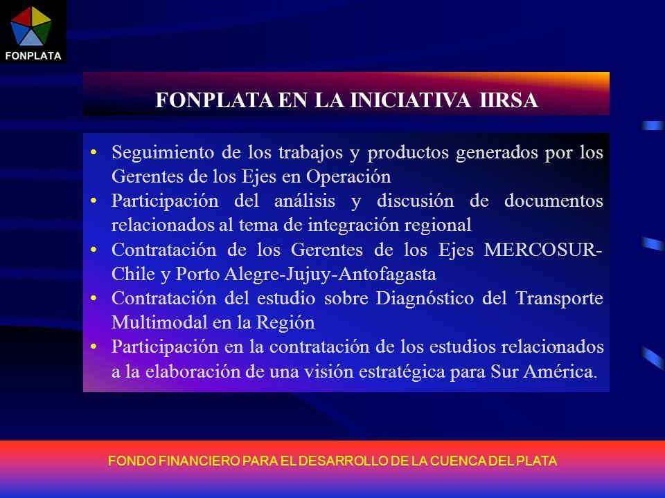 FONDO FINANCIERO PARA EL DESARROLLO DE LA CUENCA DEL PLATA FONPLATA EN LA INICIATIVA IIRSA En función de lo establecido en la Reunión de Presidentes d