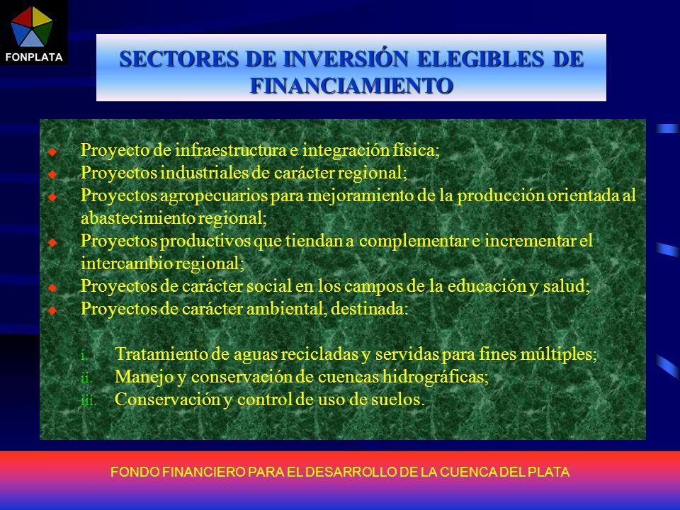 FONDO FINANCIERO PARA EL DESARROLLO DE LA CUENCA DEL PLATA PRESTATARIOS ELEGIBLES FONPLATA concederá préstamos a cualquier País Miembro, a Gobiernos Provinciales, Gobiernos Municipales, y al Sector Privado, con el aval de los respectivos Gobiernos.