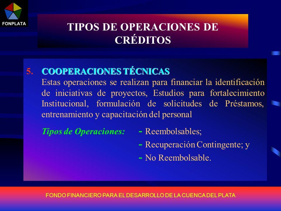 FONDO FINANCIERO PARA EL DESARROLLO DE LA CUENCA DEL PLATA TIPOS DE OPERACIONES DE CRÉDITOS CRÉDITO PARA PREINVERSIÓN 1.CRÉDITO PARA PREINVERSIÓN Tien