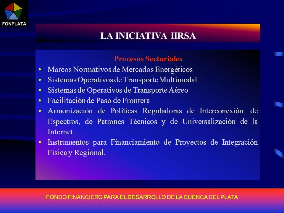 FONDO FINANCIERO PARA EL DESARROLLO DE LA CUENCA DEL PLATA LA INICIATIVA IIRSA La iniciativa IIRSA surge de la necesidad de dotar a la región sudameri