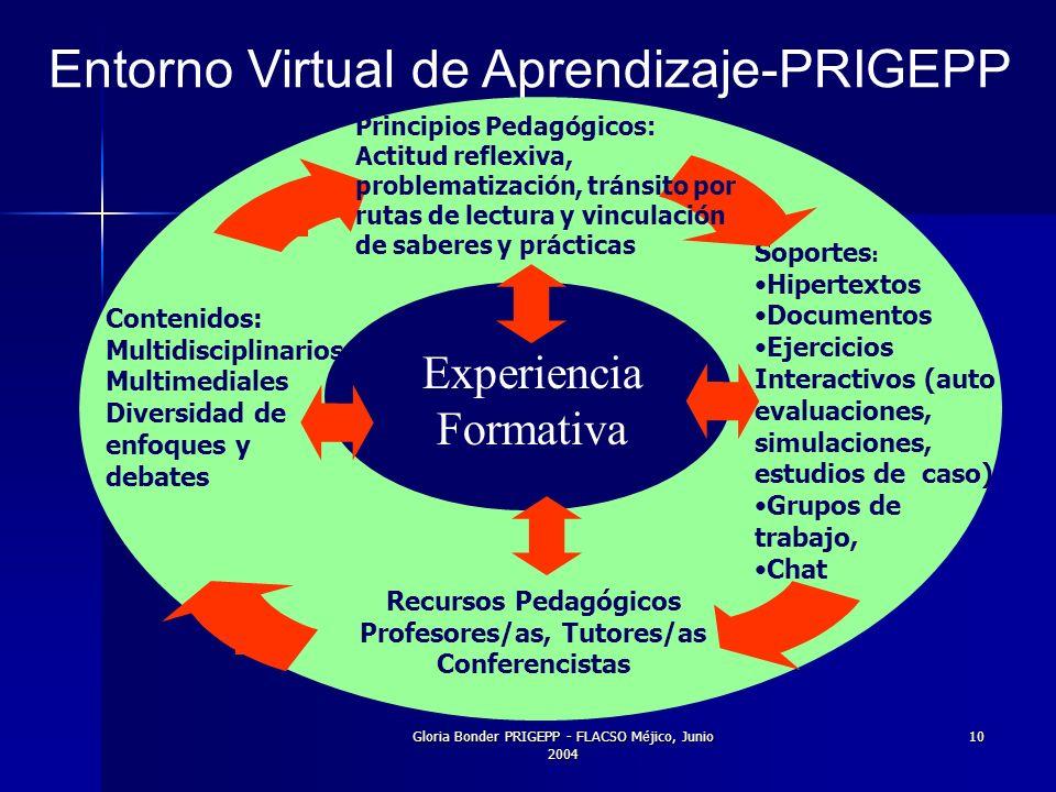 Gloria Bonder PRIGEPP - FLACSO Méjico, Junio 2004 10 Entorno Virtual de Aprendizaje-PRIGEPP Experiencia Formativa Contenidos: Multidisciplinarios Multimediales Diversidad de enfoques y debates Recursos Pedagógicos Profesores/as, Tutores/as Conferencistas.