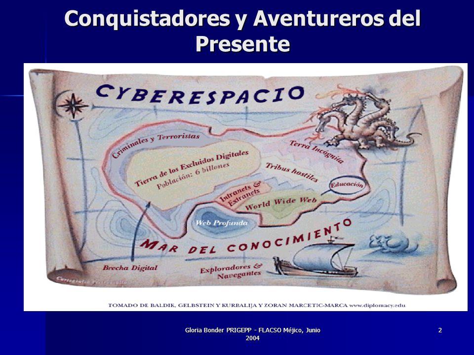 Gloria Bonder PRIGEPP - FLACSO Méjico, Junio 2004 2 Conquistadores y Aventureros del Presente