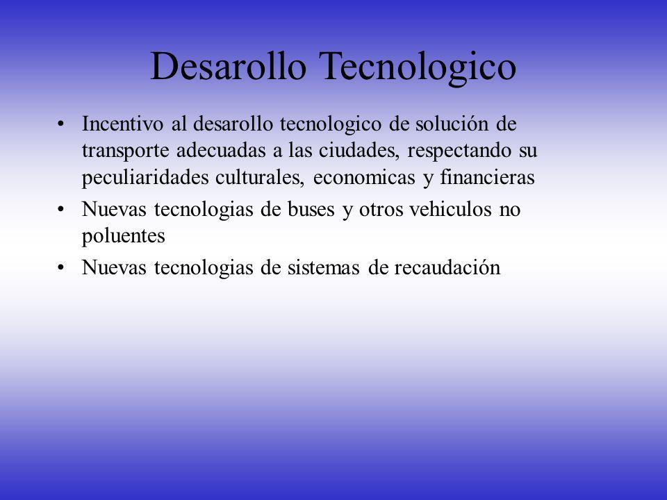 Desarollo Tecnologico Incentivo al desarollo tecnologico de solución de transporte adecuadas a las ciudades, respectando su peculiaridades culturales,