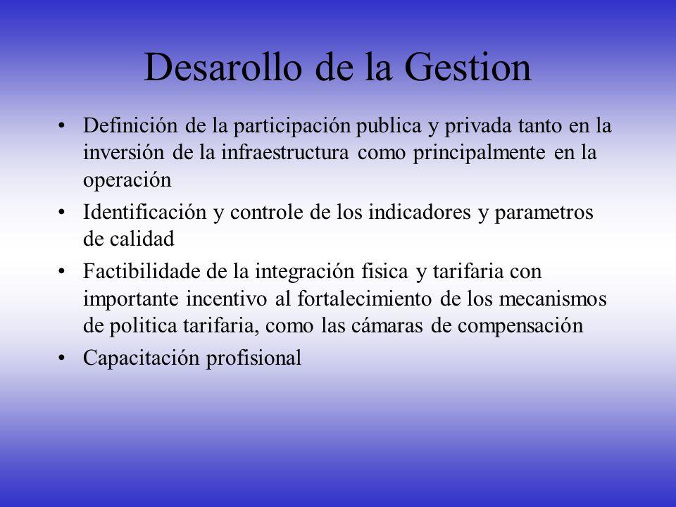 Desarollo de la Gestion Definición de la participación publica y privada tanto en la inversión de la infraestructura como principalmente en la operaci