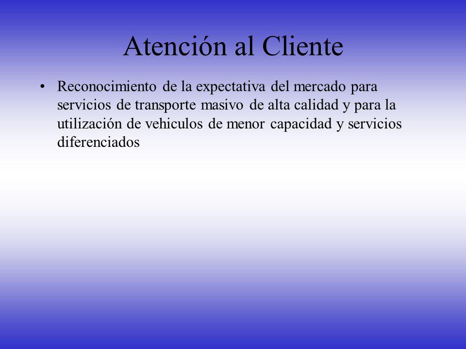 Atención al Cliente Reconocimiento de la expectativa del mercado para servicios de transporte masivo de alta calidad y para la utilización de vehiculo