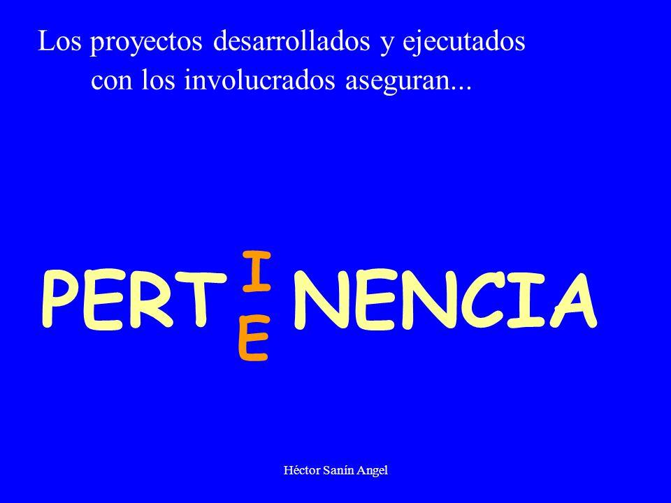 Héctor Sanín Angel PERT NENCIA I E Los proyectos desarrollados y ejecutados con los involucrados aseguran...