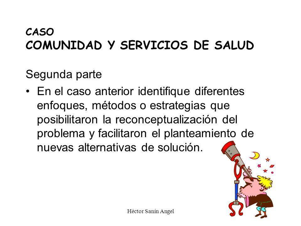 Héctor Sanín Angel CASO COMUNIDAD Y SERVICIOS DE SALUD Segunda parte En el caso anterior identifique diferentes enfoques, métodos o estrategias que po
