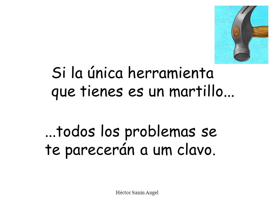 Héctor Sanín Angel Si la única herramienta que tienes es un martillo......todos los problemas se te parecerán a um clavo.