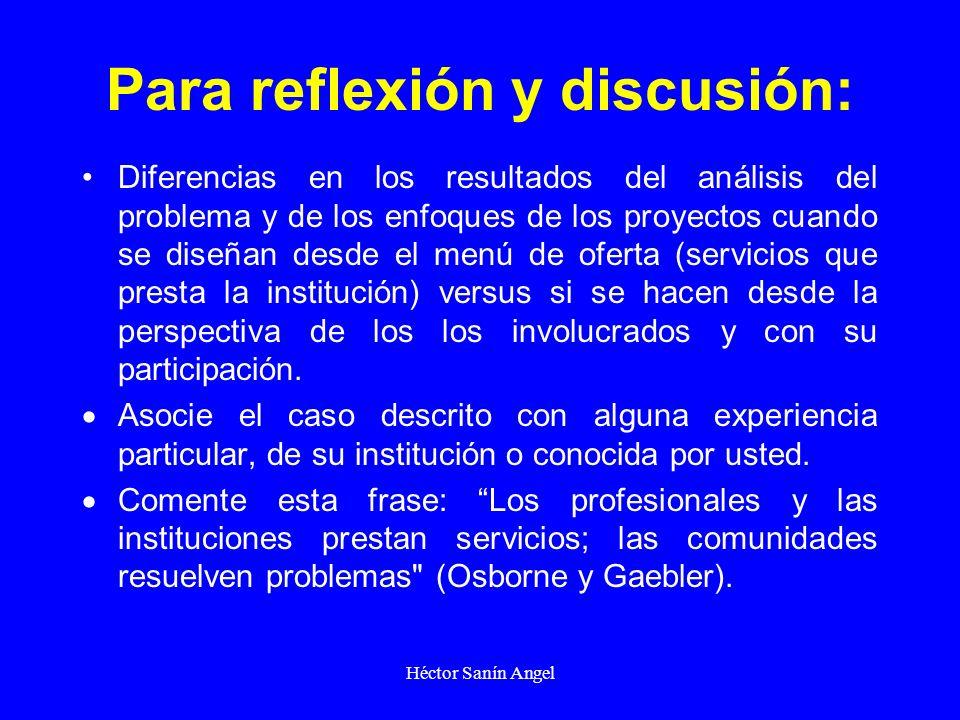 Héctor Sanín Angel Para reflexión y discusión: Diferencias en los resultados del análisis del problema y de los enfoques de los proyectos cuando se di