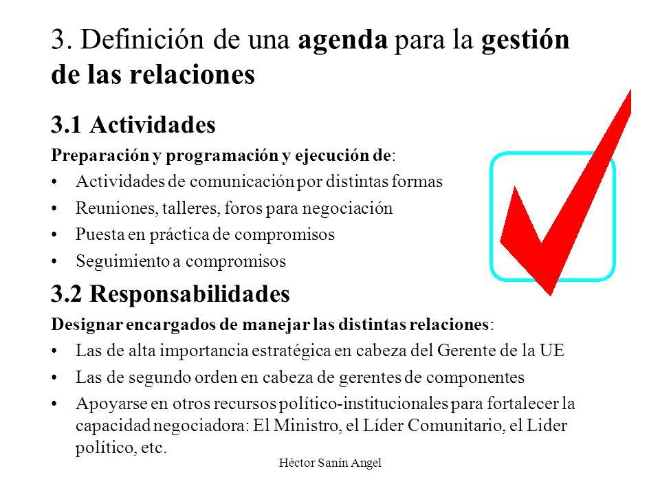 Héctor Sanín Angel 3. Definición de una agenda para la gestión de las relaciones 3.1 Actividades Preparación y programación y ejecución de: Actividade