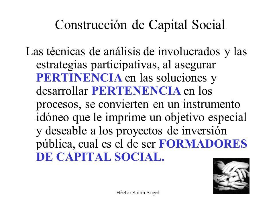 Héctor Sanín Angel Construcción de Capital Social Las técnicas de análisis de involucrados y las estrategias participativas, al asegurar PERTINENCIA e