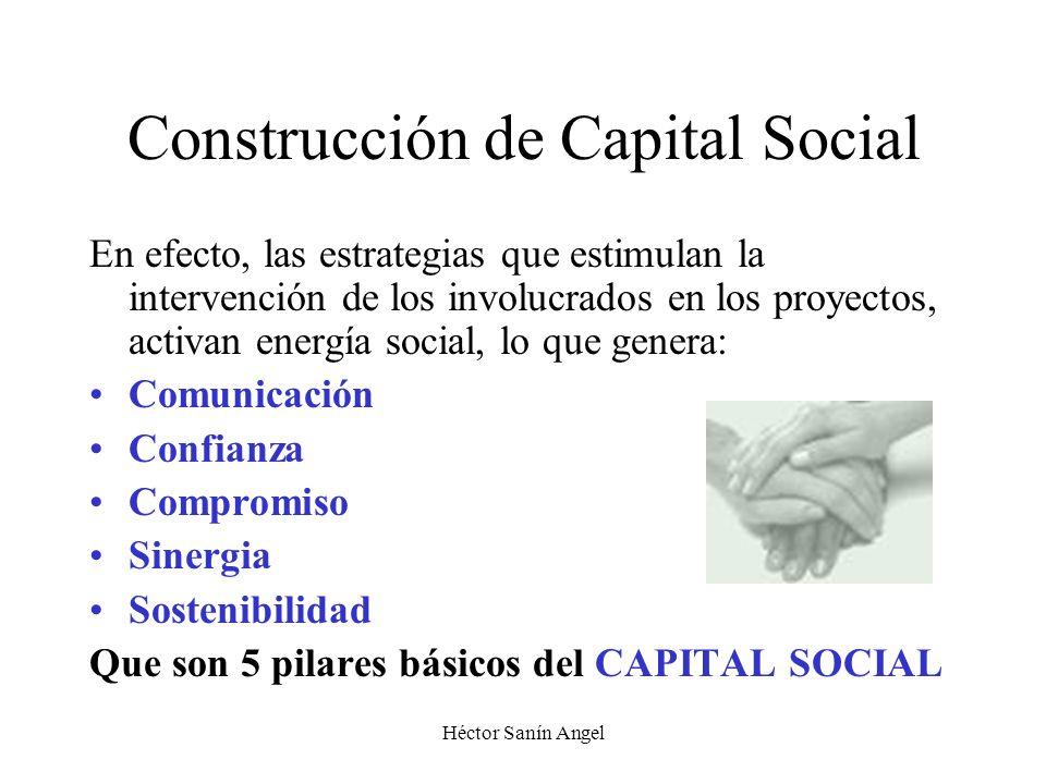 Héctor Sanín Angel Construcción de Capital Social En efecto, las estrategias que estimulan la intervención de los involucrados en los proyectos, activ