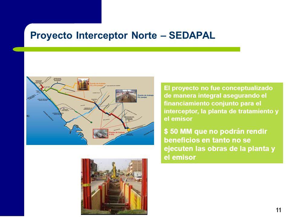 11 Proyecto Interceptor Norte – SEDAPAL El proyecto no fue conceptualizado de manera integral asegurando el financiamiento conjunto para el intercepto