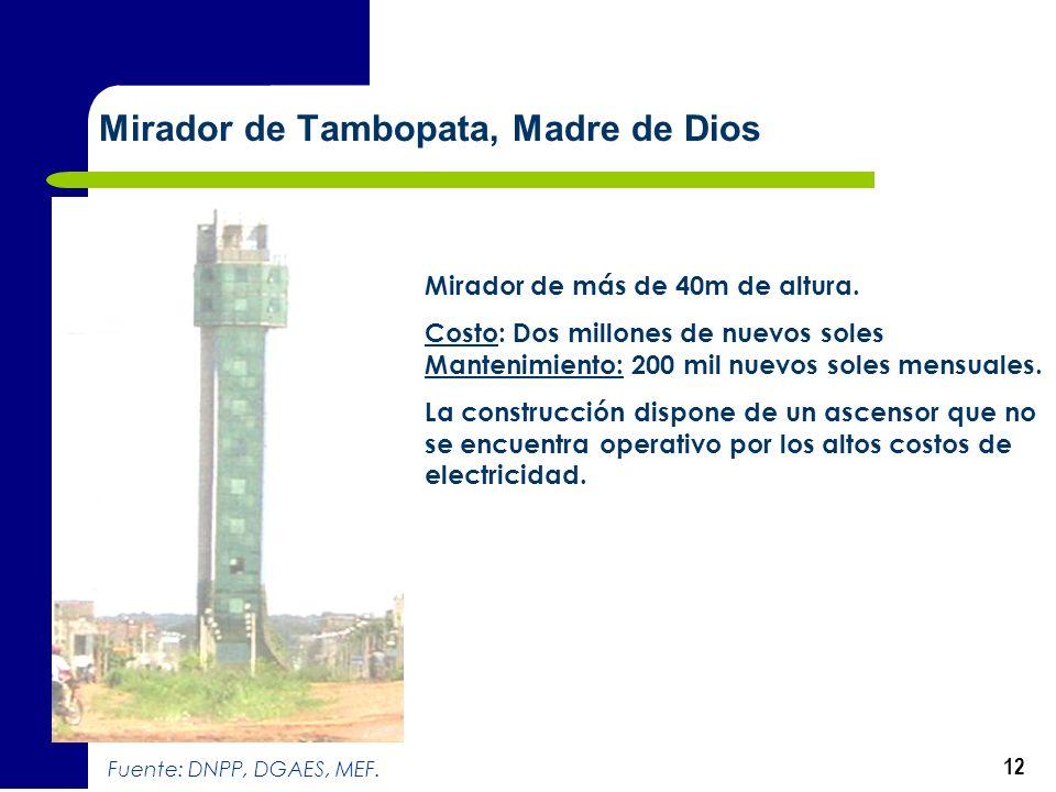 12 Mirador de Tambopata, Madre de Dios Mirador de más de 40m de altura. Costo: Dos millones de nuevos soles Mantenimiento: 200 mil nuevos soles mensua